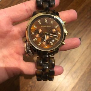 Accessories - Michael Kors Tortoise Shell Crystal Detail Watch